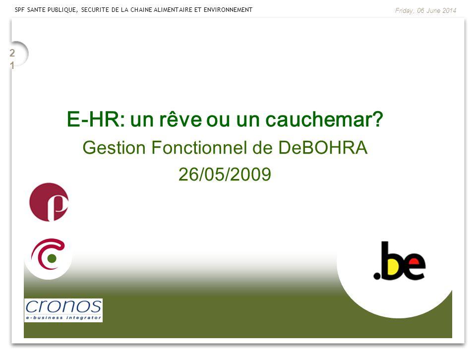 2121 SPF SANTE PUBLIQUE, SECURITE DE LA CHAINE ALIMENTAIRE ET ENVIRONNEMENT Friday, 06 June 2014 E-HR: un rêve ou un cauchemar? Gestion Fonctionnel de