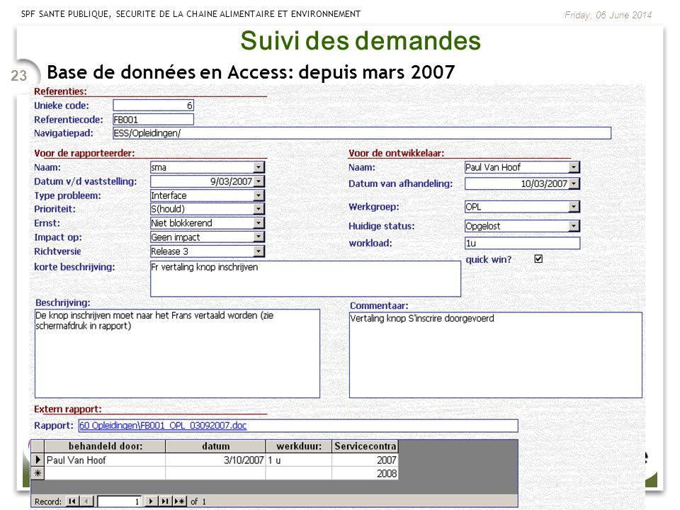SPF SANTE PUBLIQUE, SECURITE DE LA CHAINE ALIMENTAIRE ET ENVIRONNEMENT Friday, 06 June 2014 23 Suivi des demandes Base de données en Access: depuis ma