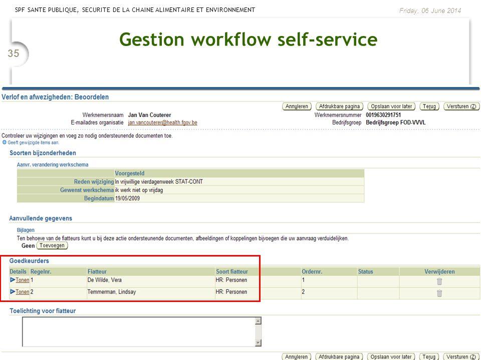 SPF SANTE PUBLIQUE, SECURITE DE LA CHAINE ALIMENTAIRE ET ENVIRONNEMENT Friday, 06 June 2014 35 Gestion workflow self-service