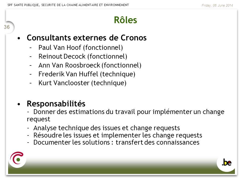 SPF SANTE PUBLIQUE, SECURITE DE LA CHAINE ALIMENTAIRE ET ENVIRONNEMENT Friday, 06 June 2014 36 Rôles Consultants externes de Cronos –Paul Van Hoof (fo