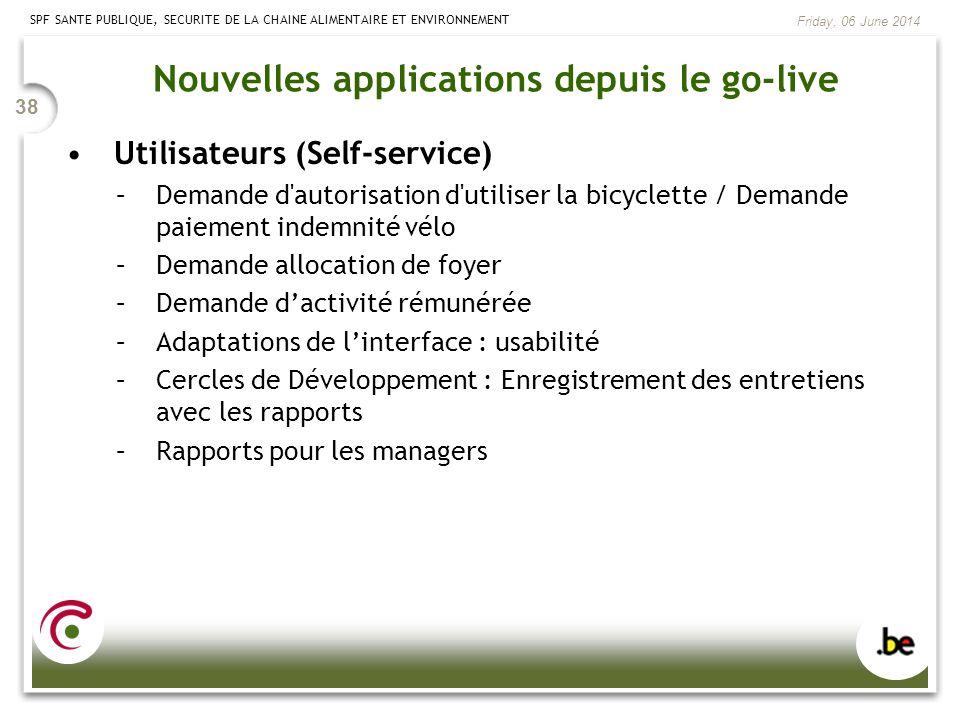 SPF SANTE PUBLIQUE, SECURITE DE LA CHAINE ALIMENTAIRE ET ENVIRONNEMENT Friday, 06 June 2014 38 Nouvelles applications depuis le go-live Utilisateurs (