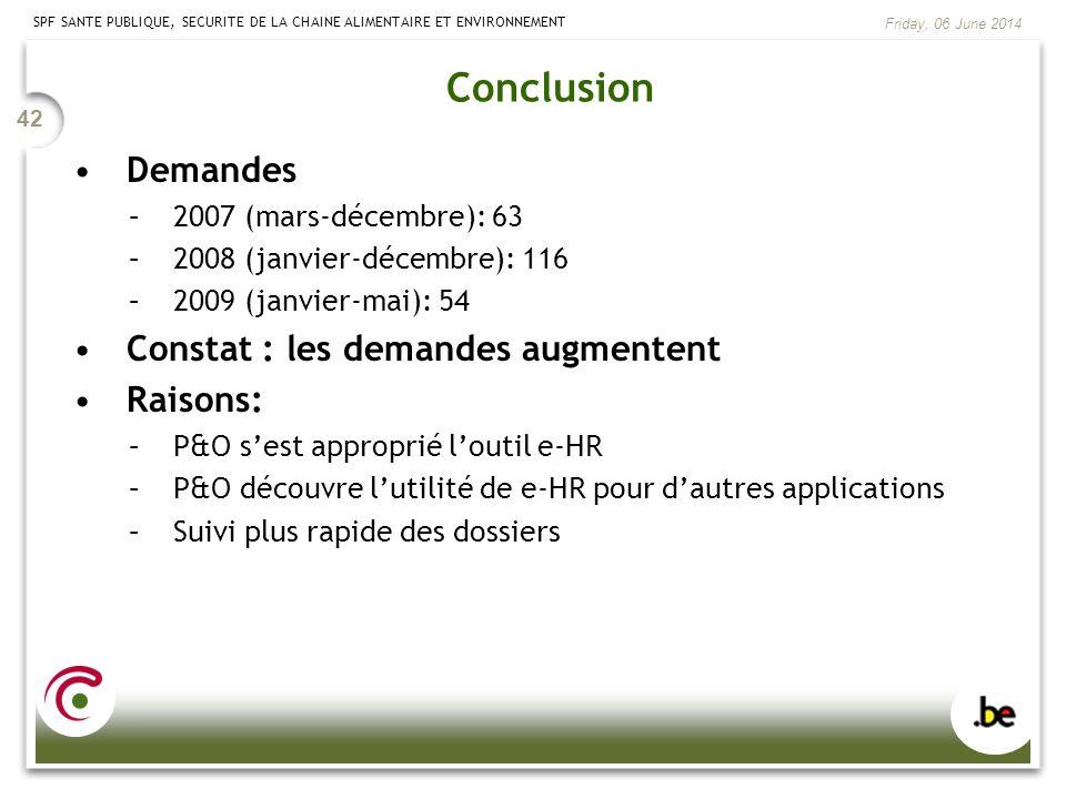 SPF SANTE PUBLIQUE, SECURITE DE LA CHAINE ALIMENTAIRE ET ENVIRONNEMENT Friday, 06 June 2014 42 Conclusion Demandes –2007 (mars-décembre): 63 –2008 (ja