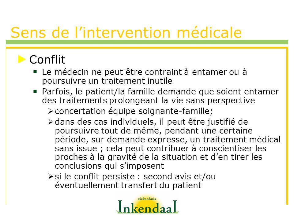 Sens de lintervention médicale Conflit Le médecin ne peut être contraint à entamer ou à poursuivre un traitement inutile Parfois, le patient/la famill