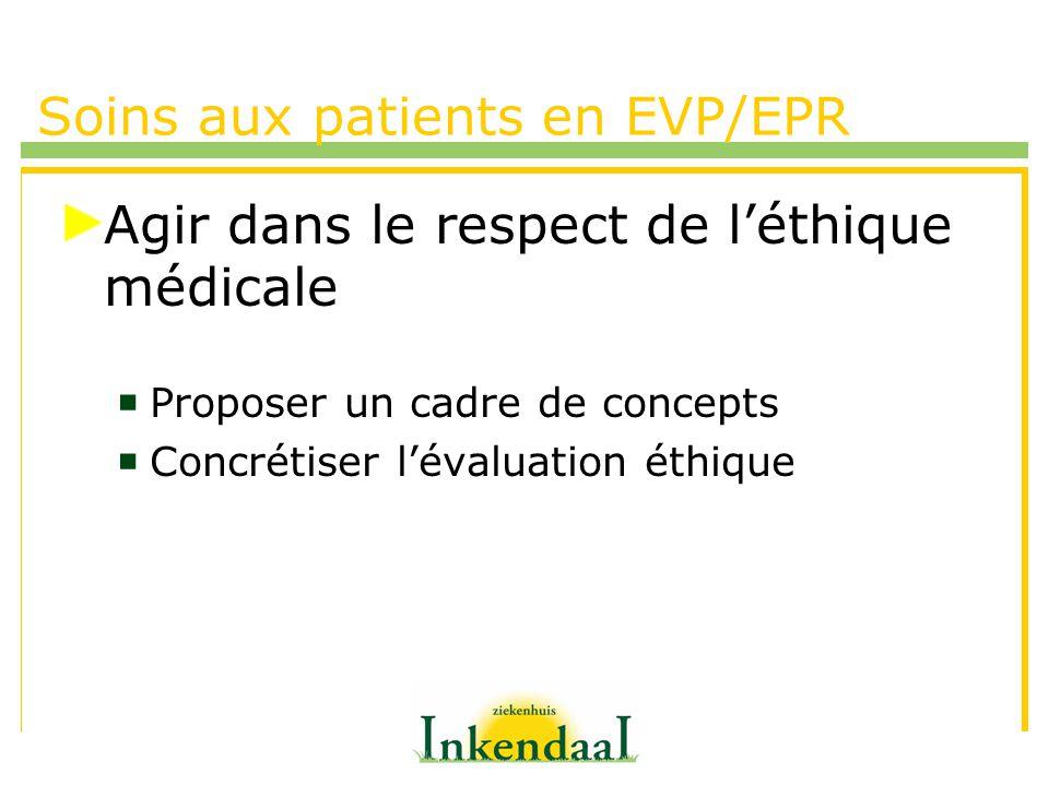Soins aux patients en EVP/EPR Agir dans le respect de léthique médicale Proposer un cadre de concepts Concrétiser lévaluation éthique
