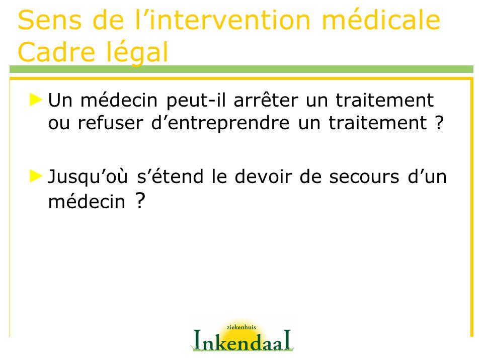 Sens de lintervention médicale Cadre légal Un médecin peut-il arrêter un traitement ou refuser dentreprendre un traitement ? Jusquoù sétend le devoir