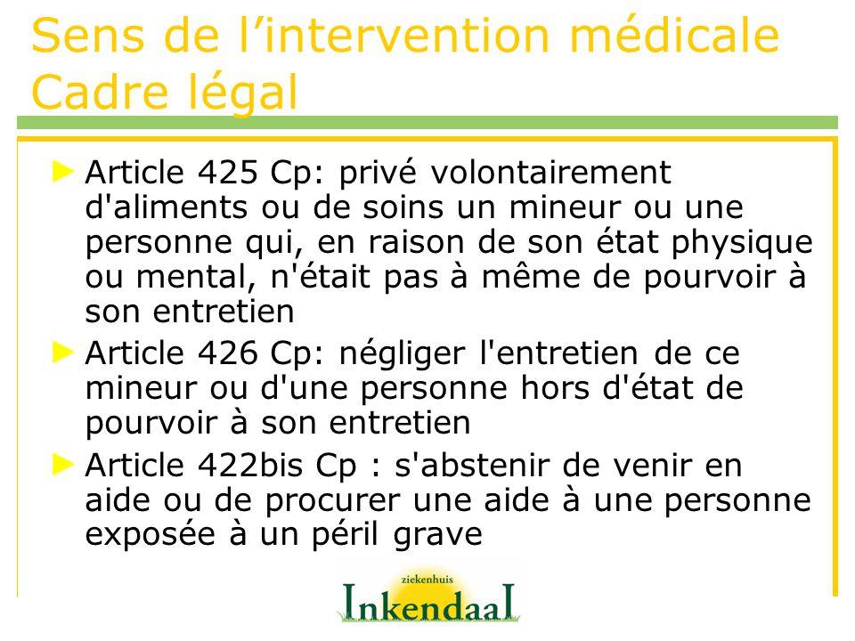 Sens de lintervention médicale Cadre légal Article 425 Cp: privé volontairement d'aliments ou de soins un mineur ou une personne qui, en raison de son