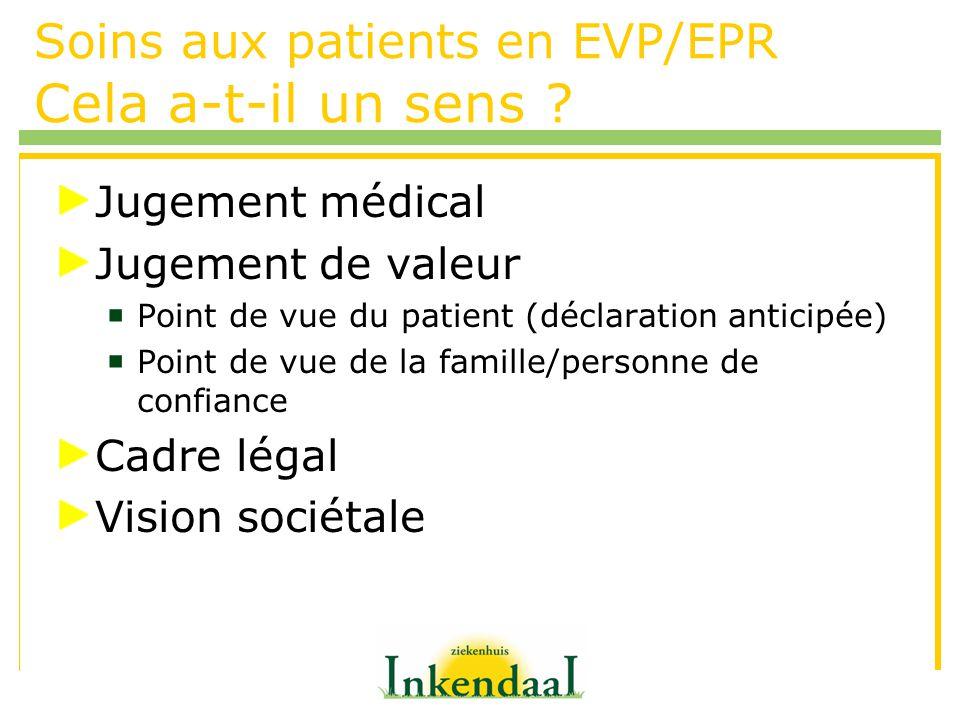 Soins aux patients en EVP/EPR Cela a-t-il un sens ? Jugement médical Jugement de valeur Point de vue du patient (déclaration anticipée) Point de vue d