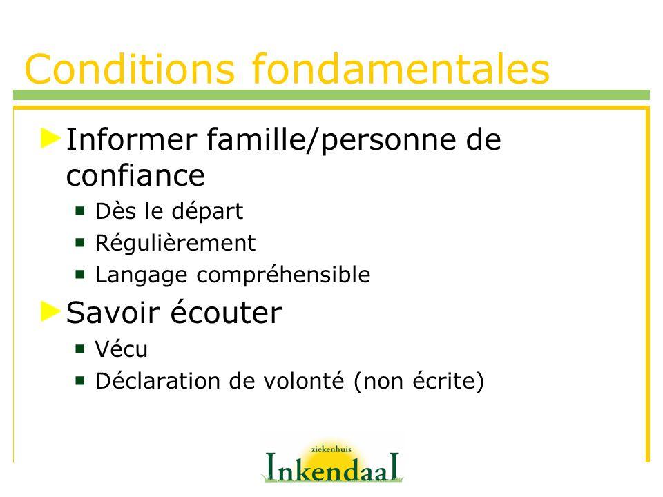 Conditions fondamentales Informer famille/personne de confiance Dès le départ Régulièrement Langage compréhensible Savoir écouter Vécu Déclaration de