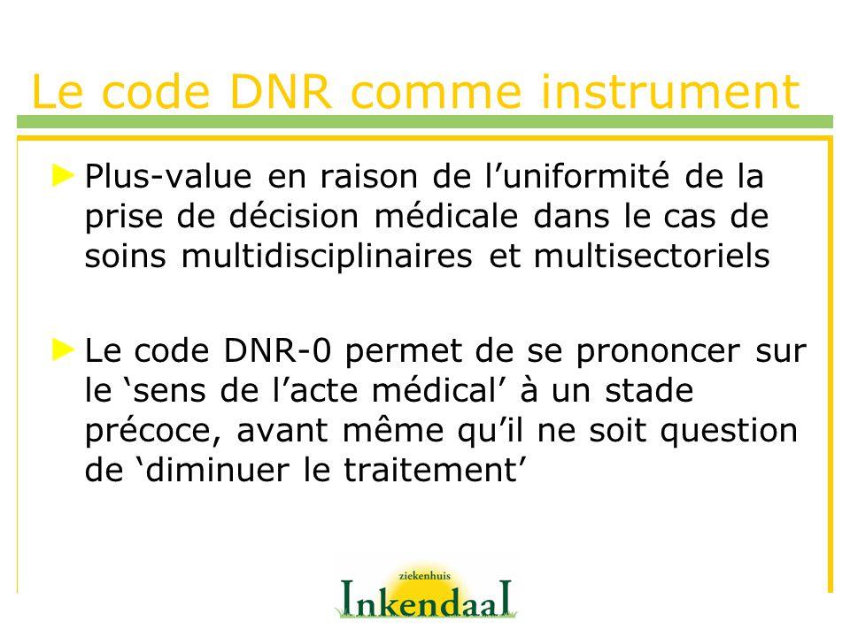 Le code DNR comme instrument Nouvelle application en dehors de la phase terminale Situation du patient EVP sans issue Qualité de vie, importance relative de ce concept et moyens thérapeutiques à mettre en oeuvre