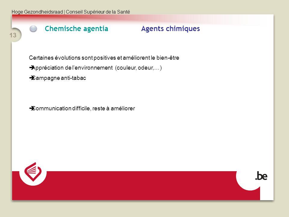 Hoge Gezondheidsraad | Conseil Supérieur de la Santé 13 Chemische agentia Agents chimiques Certaines évolutions sont positives et améliorent le bien-être Appréciation de lenvironnement (couleur, odeur,…) Campagne anti-tabac Communication difficile, reste à améliorer