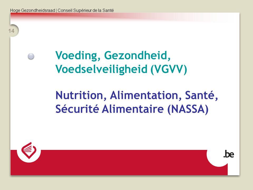 Hoge Gezondheidsraad | Conseil Supérieur de la Santé 14 Voeding, Gezondheid, Voedselveiligheid (VGVV) Nutrition, Alimentation, Santé, Sécurité Aliment