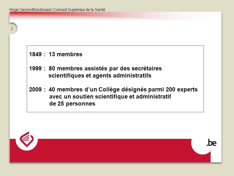 Hoge Gezondheidsraad | Conseil Supérieur de la Santé 2 1849 : 13 membres 1999 : 80 membres assistés par des secrétaires scientifiques et agents admini