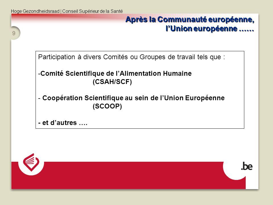 Hoge Gezondheidsraad | Conseil Supérieur de la Santé 9 Après la Communauté européenne, lUnion européenne …… Participation à divers Comités ou Groupes