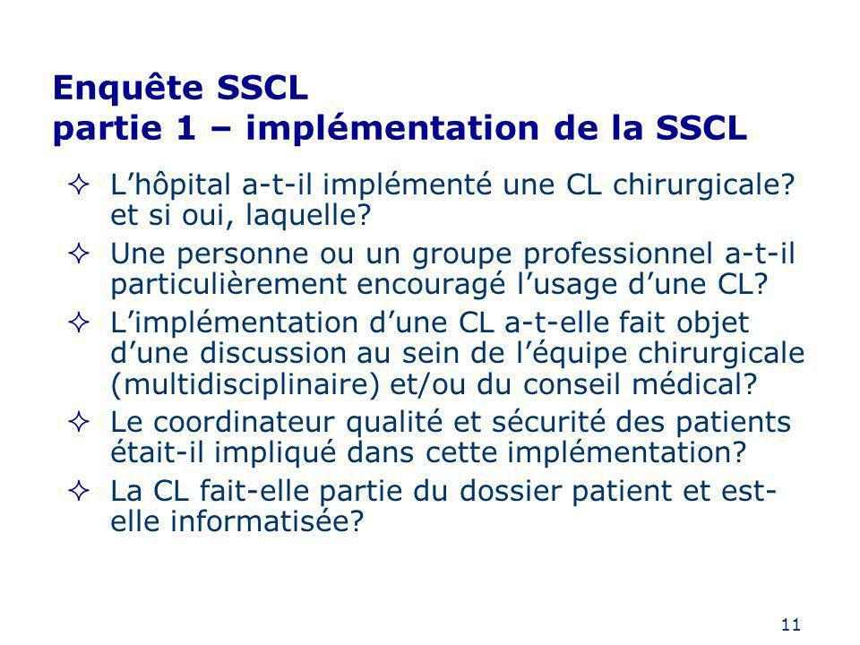 11 Enquête SSCL partie 1 – implémentation de la SSCL Lhôpital a-t-il implémenté une CL chirurgicale? et si oui, laquelle? Une personne ou un groupe pr