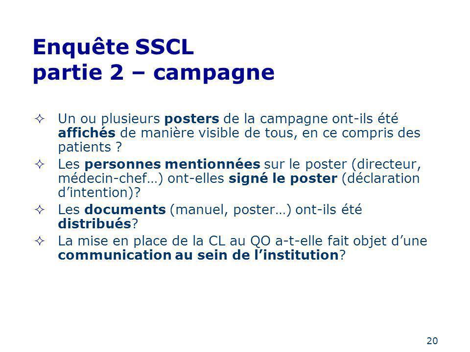 20 Enquête SSCL partie 2 – campagne Un ou plusieurs posters de la campagne ont-ils été affichés de manière visible de tous, en ce compris des patients