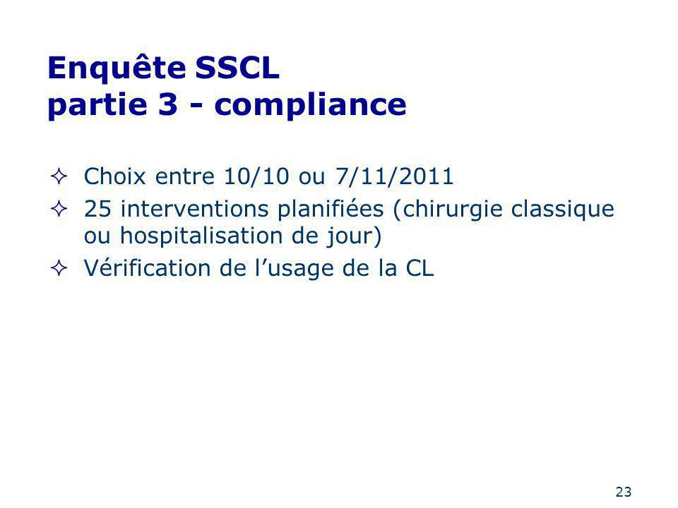 23 Enquête SSCL partie 3 - compliance Choix entre 10/10 ou 7/11/2011 25 interventions planifiées (chirurgie classique ou hospitalisation de jour) Véri