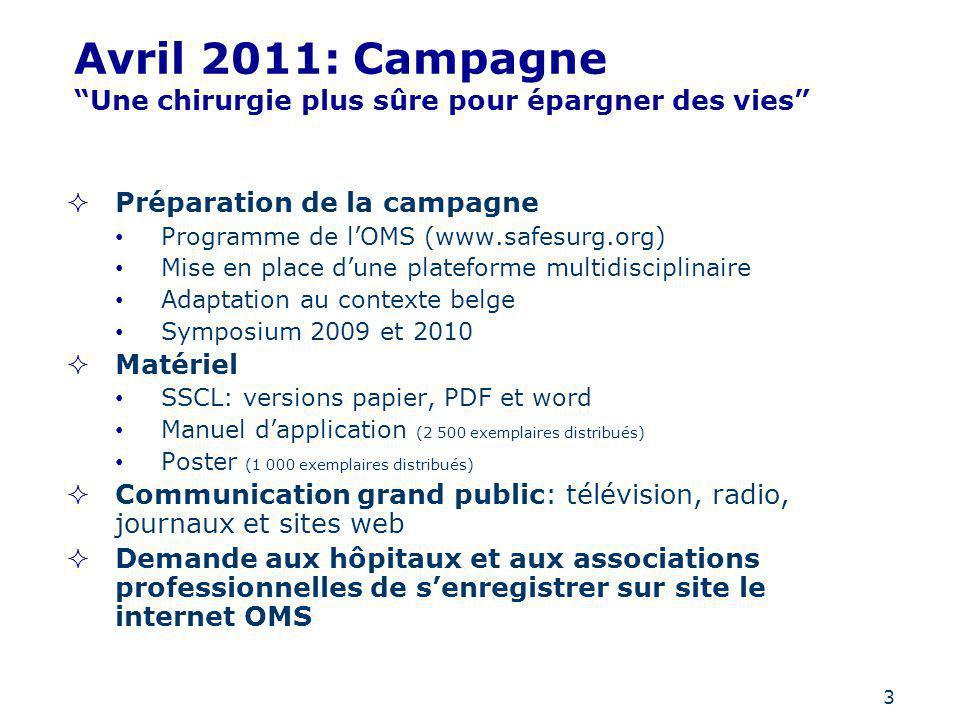 3 Avril 2011: Campagne Une chirurgie plus sûre pour épargner des vies Préparation de la campagne Programme de lOMS (www.safesurg.org) Mise en place du