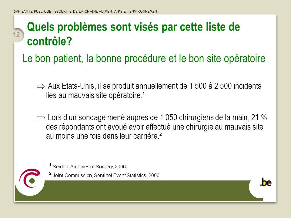 SPF SANTE PUBLIQUE, SECURITE DE LA CHAINE ALIMENTAIRE ET ENVIRONNEMENT 12 Quels problèmes sont visés par cette liste de contrôle.