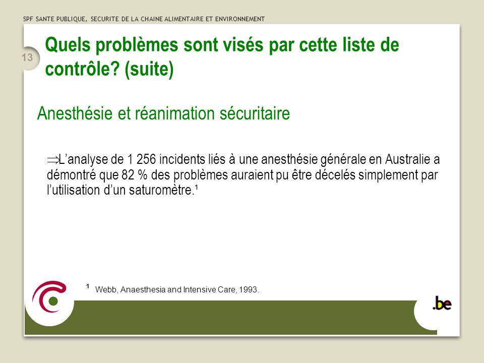 SPF SANTE PUBLIQUE, SECURITE DE LA CHAINE ALIMENTAIRE ET ENVIRONNEMENT 13 Quels problèmes sont visés par cette liste de contrôle.