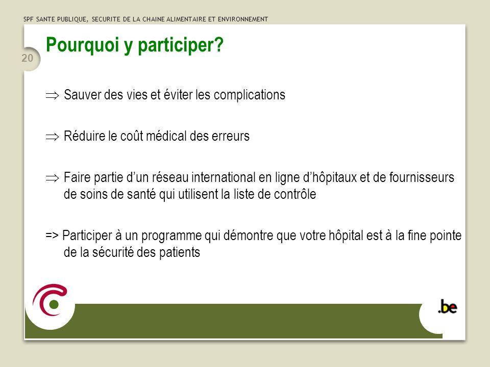 SPF SANTE PUBLIQUE, SECURITE DE LA CHAINE ALIMENTAIRE ET ENVIRONNEMENT 20 Pourquoi y participer.