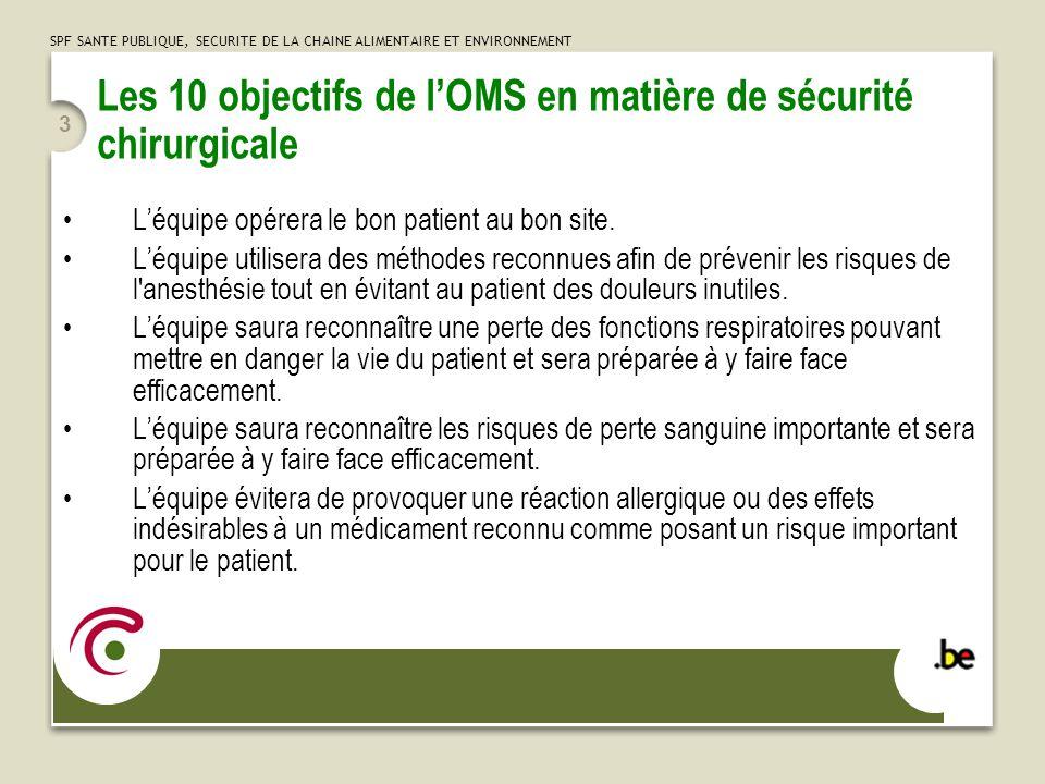 SPF SANTE PUBLIQUE, SECURITE DE LA CHAINE ALIMENTAIRE ET ENVIRONNEMENT 3 Les 10 objectifs de lOMS en matière de sécurité chirurgicale Léquipe opérera le bon patient au bon site.