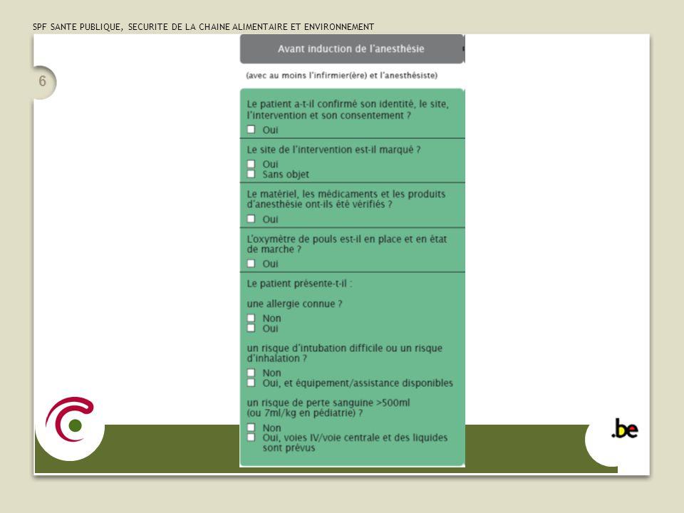 SPF SANTE PUBLIQUE, SECURITE DE LA CHAINE ALIMENTAIRE ET ENVIRONNEMENT 6