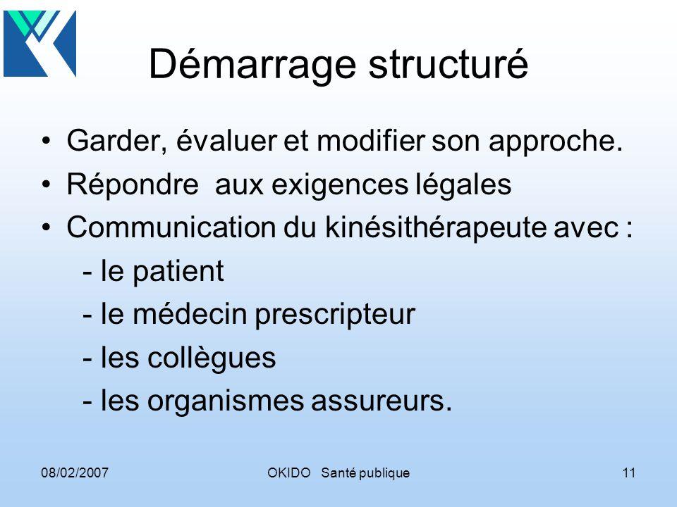 08/02/2007OKIDO Santé publique11 Démarrage structuré Garder, évaluer et modifier son approche.