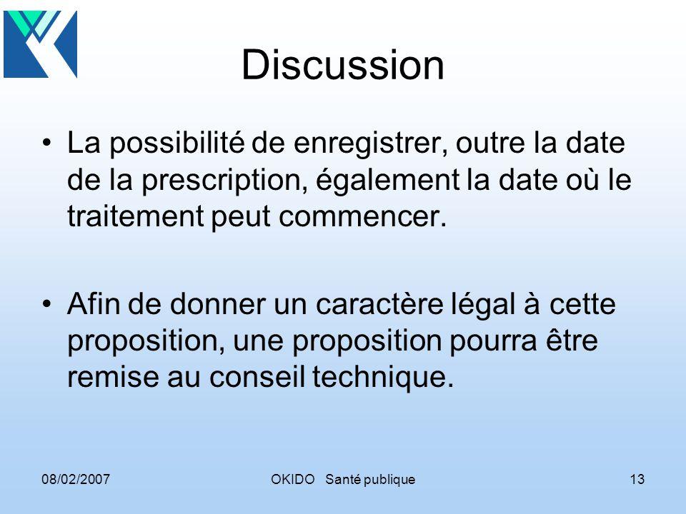 08/02/2007OKIDO Santé publique13 Discussion La possibilité de enregistrer, outre la date de la prescription, également la date où le traitement peut commencer.