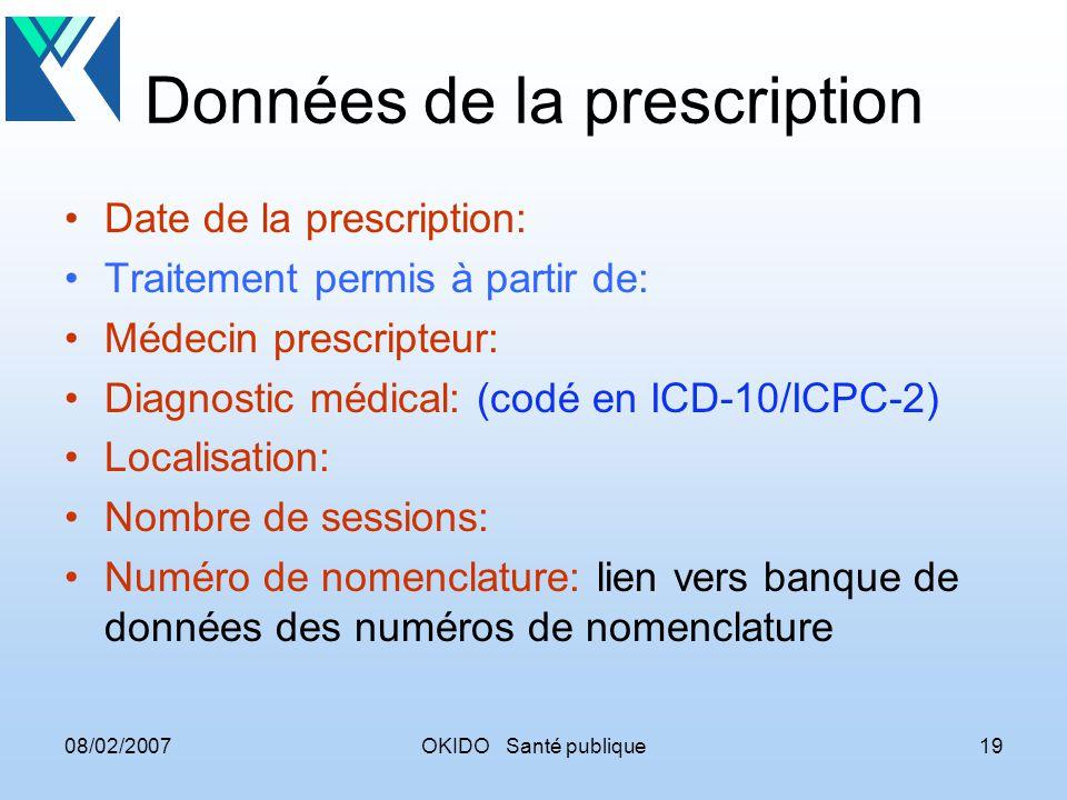 08/02/2007OKIDO Santé publique19 Données de la prescription Date de la prescription: Traitement permis à partir de: Médecin prescripteur: Diagnostic m