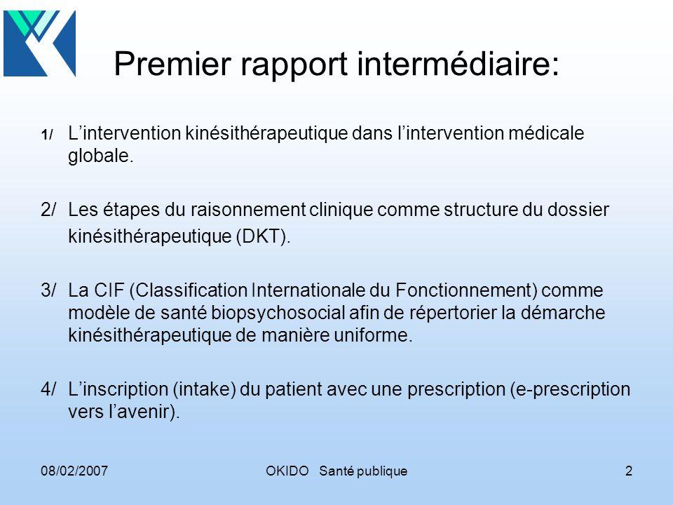 08/02/2007OKIDO Santé publique3 Dossier médical structure orientée vers le patient concepts fondamentaux : - élément de soins - approche de soins - service - (sous)contact - prestataire de soins