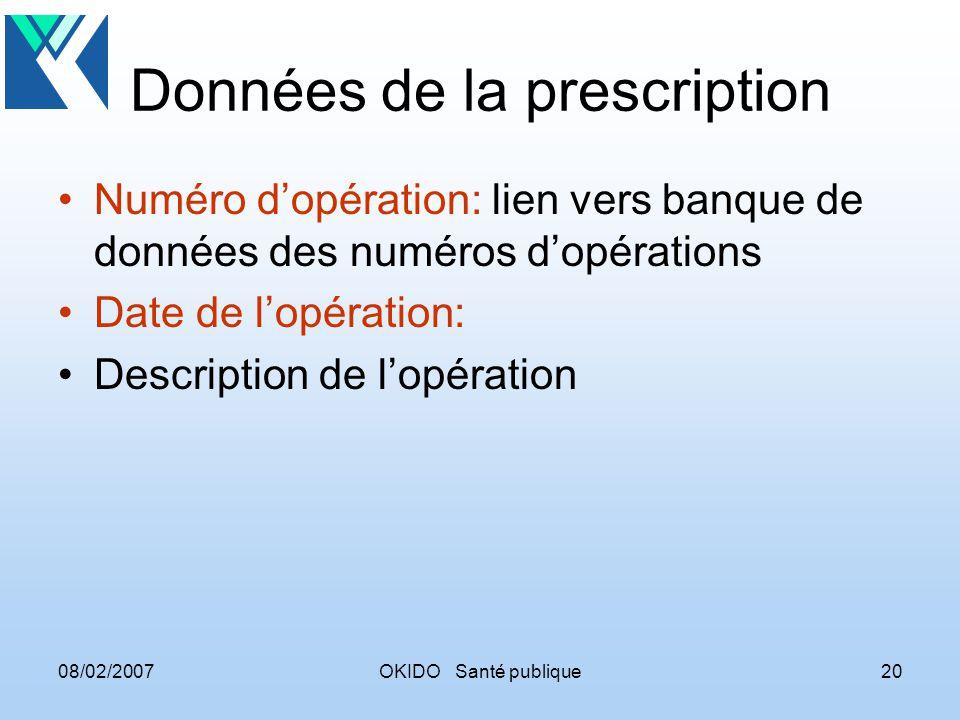 08/02/2007OKIDO Santé publique20 Données de la prescription Numéro dopération: lien vers banque de données des numéros dopérations Date de lopération: