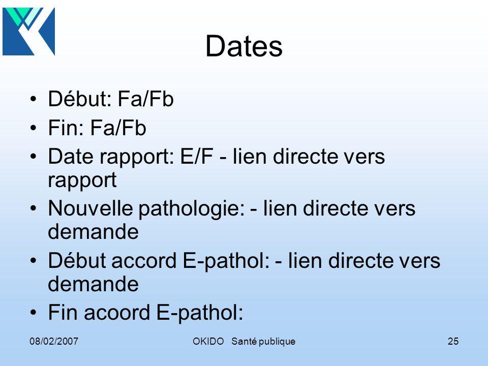 08/02/2007OKIDO Santé publique25 Dates Début: Fa/Fb Fin: Fa/Fb Date rapport: E/F - lien directe vers rapport Nouvelle pathologie: - lien directe vers demande Début accord E-pathol: - lien directe vers demande Fin acoord E-pathol: