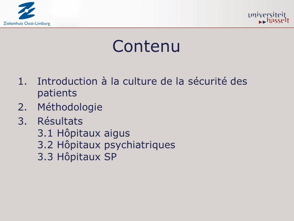 Contenu 1.Introduction à la culture de la sécurité des patients 2.Méthodologie 3.Résultats 3.1 Hôpitaux aigus 3.2 Hôpitaux psychiatriques 3.3 Hôpitaux SP