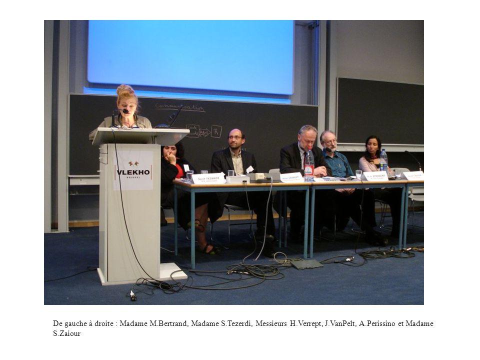 De gauche à droite : Madame M.Bertrand, Madame S.Tezerdi, Messieurs H.Verrept, J.VanPelt, A.Perissino et Madame S.Zaiour