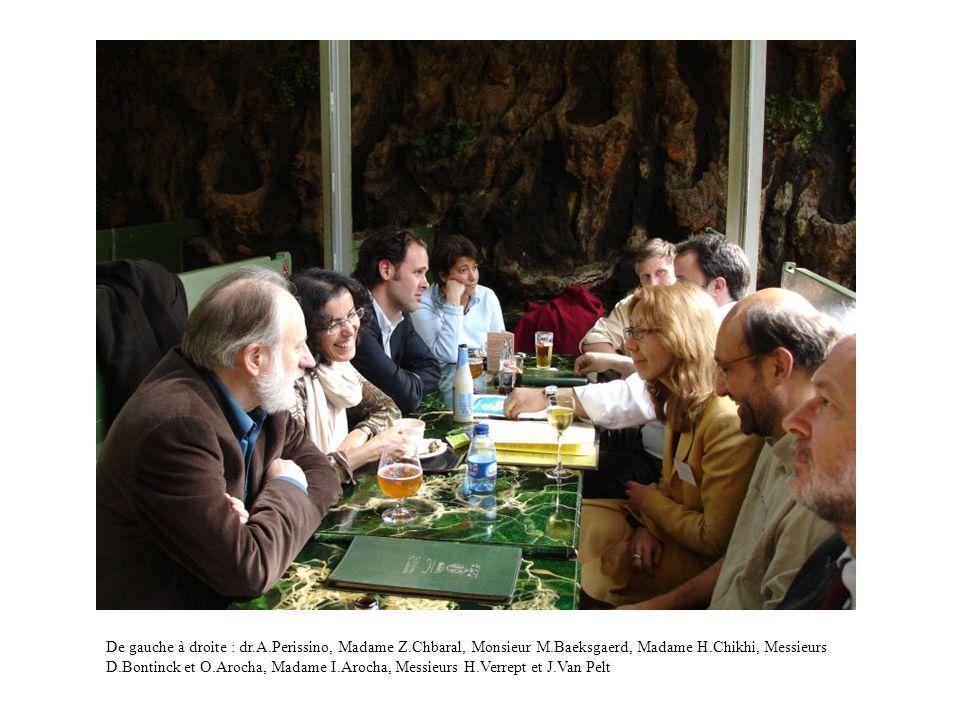 De gauche à droite : dr.A.Perissino, Madame Z.Chbaral, Monsieur M.Baeksgaerd, Madame H.Chikhi, Messieurs D.Bontinck et O.Arocha, Madame I.Arocha, Messieurs H.Verrept et J.Van Pelt