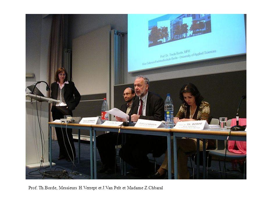 Prof. Th.Borde, Messieurs H.Verrept et J.Van Pelt et Madame Z.Chbaral