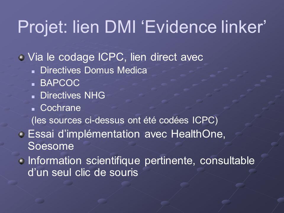 Projet: lien DMI Evidence linker Via le codage ICPC, lien direct avec Directives Domus Medica BAPCOC Directives NHG Cochrane (les sources ci-dessus ont été codées ICPC) Essai dimplémentation avec HealthOne, Soesome Information scientifique pertinente, consultable dun seul clic de souris