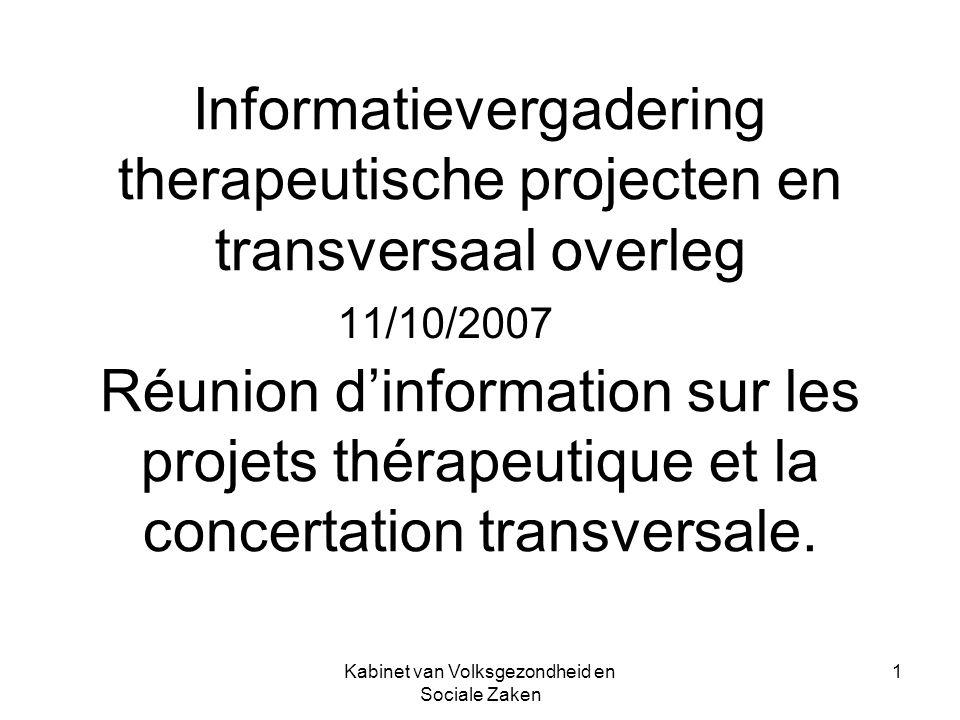 Kabinet van Volksgezondheid en Sociale Zaken 1 Informatievergadering therapeutische projecten en transversaal overleg Réunion dinformation sur les projets thérapeutique et la concertation transversale.