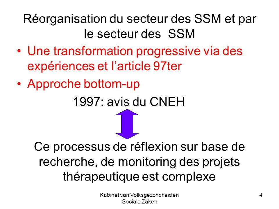 Kabinet van Volksgezondheid en Sociale Zaken 4 Réorganisation du secteur des SSM et par le secteur des SSM Une transformation progressive via des expé