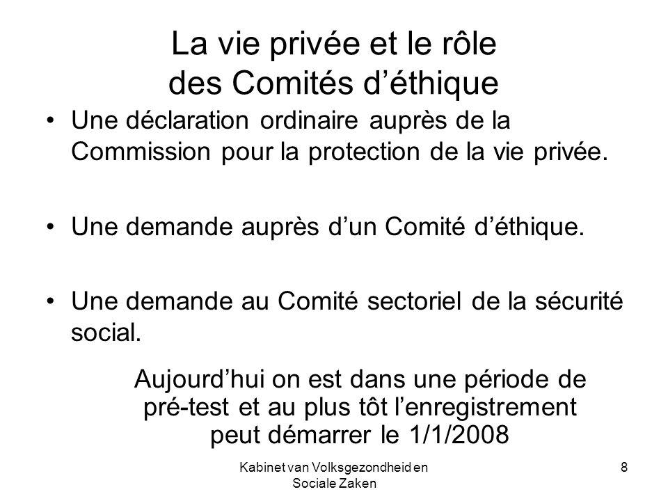 Kabinet van Volksgezondheid en Sociale Zaken 8 La vie privée et le rôle des Comités déthique Une déclaration ordinaire auprès de la Commission pour la protection de la vie privée.