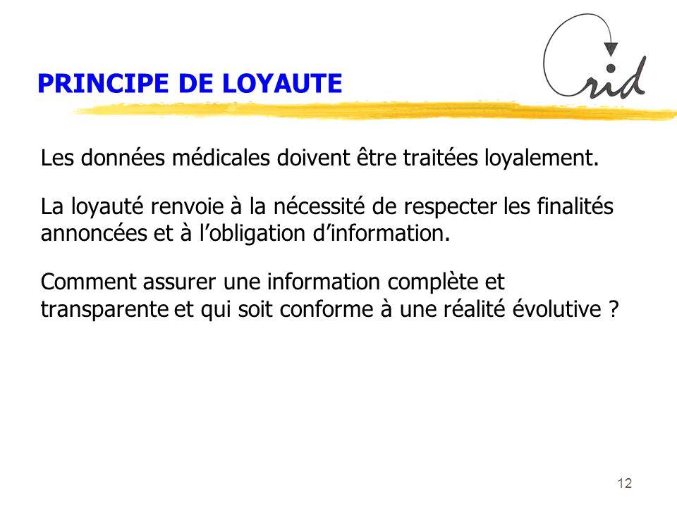 12 PRINCIPE DE LOYAUTE Les données médicales doivent être traitées loyalement.