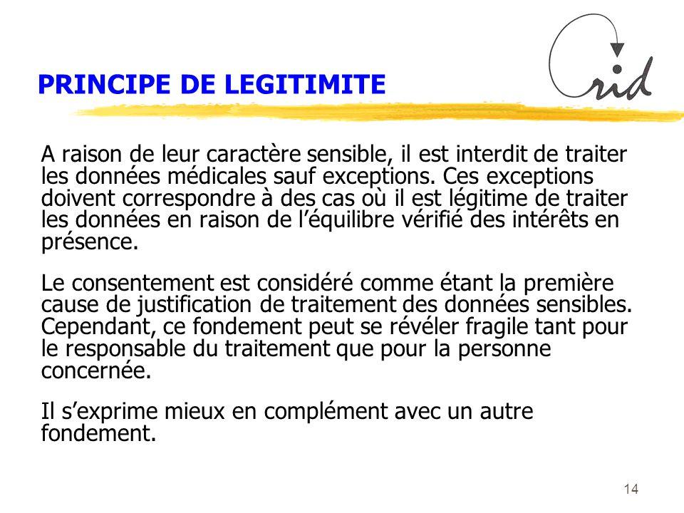 14 PRINCIPE DE LEGITIMITE A raison de leur caractère sensible, il est interdit de traiter les données médicales sauf exceptions.