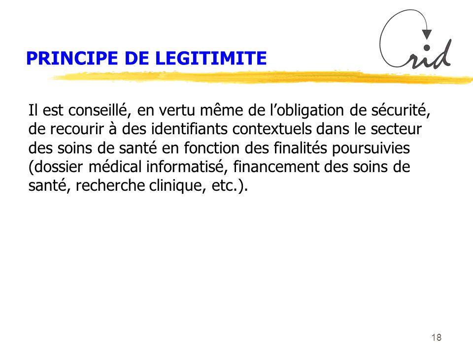 18 PRINCIPE DE LEGITIMITE Il est conseillé, en vertu même de lobligation de sécurité, de recourir à des identifiants contextuels dans le secteur des soins de santé en fonction des finalités poursuivies (dossier médical informatisé, financement des soins de santé, recherche clinique, etc.).