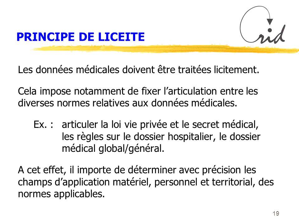 19 PRINCIPE DE LICEITE Les données médicales doivent être traitées licitement.