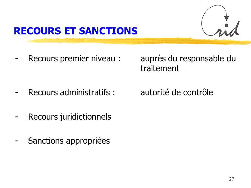 27 RECOURS ET SANCTIONS -Recours premier niveau :auprès du responsable du traitement -Recours administratifs :autorité de contrôle -Recours juridictionnels -Sanctions appropriées