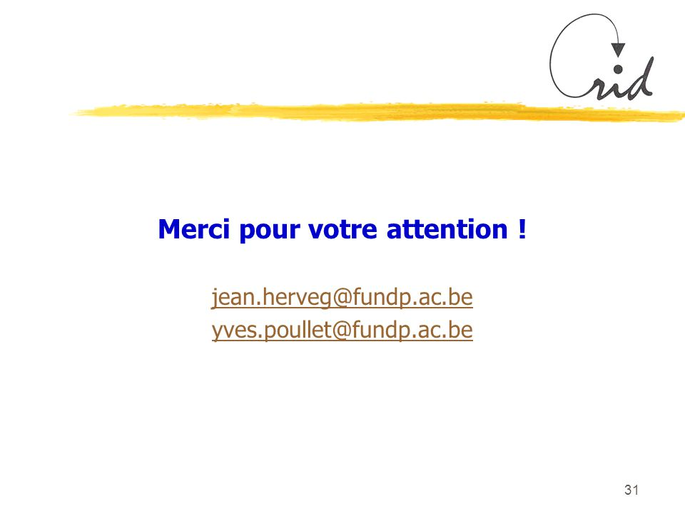 31 Merci pour votre attention ! jean.herveg@fundp.ac.be yves.poullet@fundp.ac.be