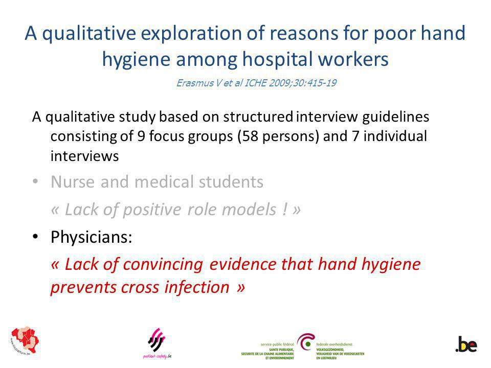 A qualitative exploration of reasons for poor hand hygiene among hospital workers A qualitative study based on structured interview guidelines consisting of 9 focus groups (58 persons) and 7 individual interviews Nurse and medical students « Lack of positive role models .
