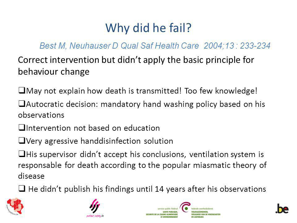 Why did he fail? Correct intervention but didnt apply the basic principle for behaviour change May not explain how death is transmitted! Too few knowl