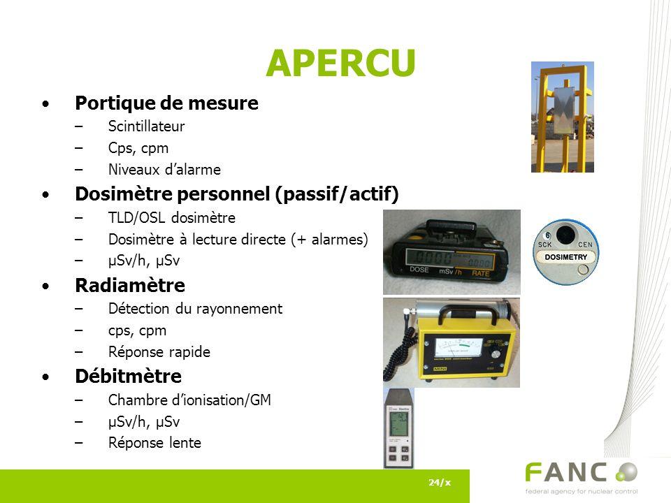 APERCU 24/x Portique de mesure –Scintillateur –Cps, cpm –Niveaux dalarme Dosimètre personnel (passif/actif) –TLD/OSL dosimètre –Dosimètre à lecture directe (+ alarmes) –µSv/h, µSv Radiamètre –Détection du rayonnement –cps, cpm –Réponse rapide Débitmètre –Chambre dionisation/GM –µSv/h, µSv –Réponse lente