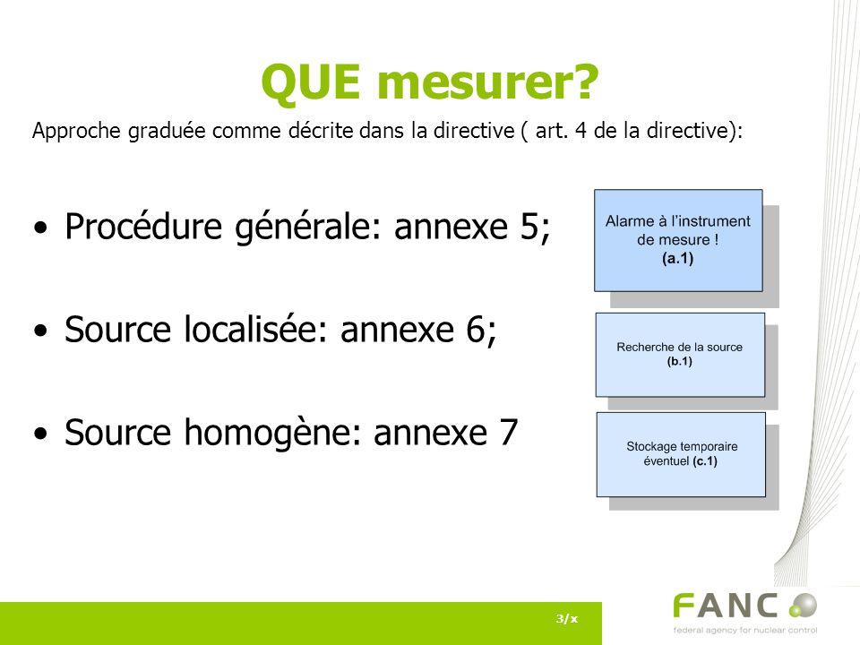 3/x QUE mesurer? Approche graduée comme décrite dans la directive ( art. 4 de la directive): Procédure générale: annexe 5; Source localisée: annexe 6;